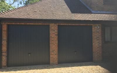 black up and over garage doors